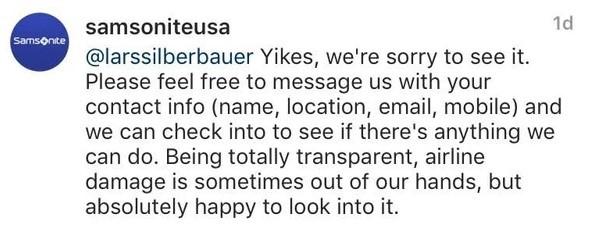 Samsonite response to airline customer