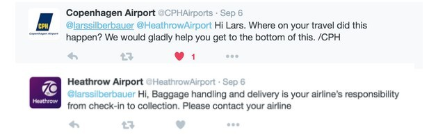 Airline responses to customer