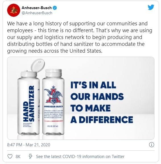Anheuser Busch produces hand sanitizer