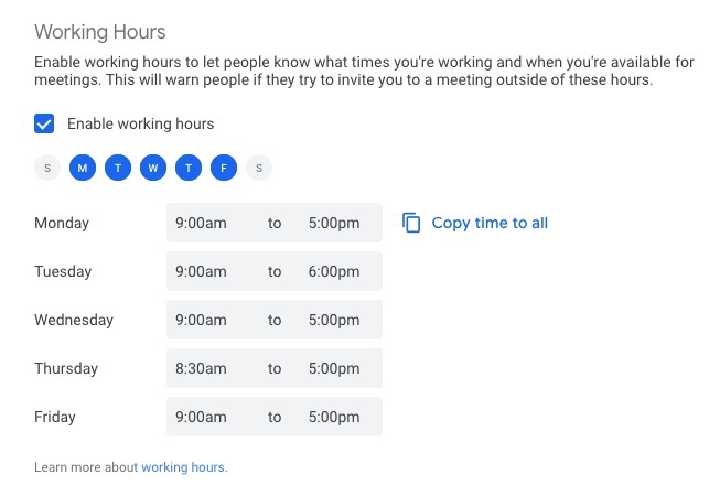 Setting working hours on your Google Calendar