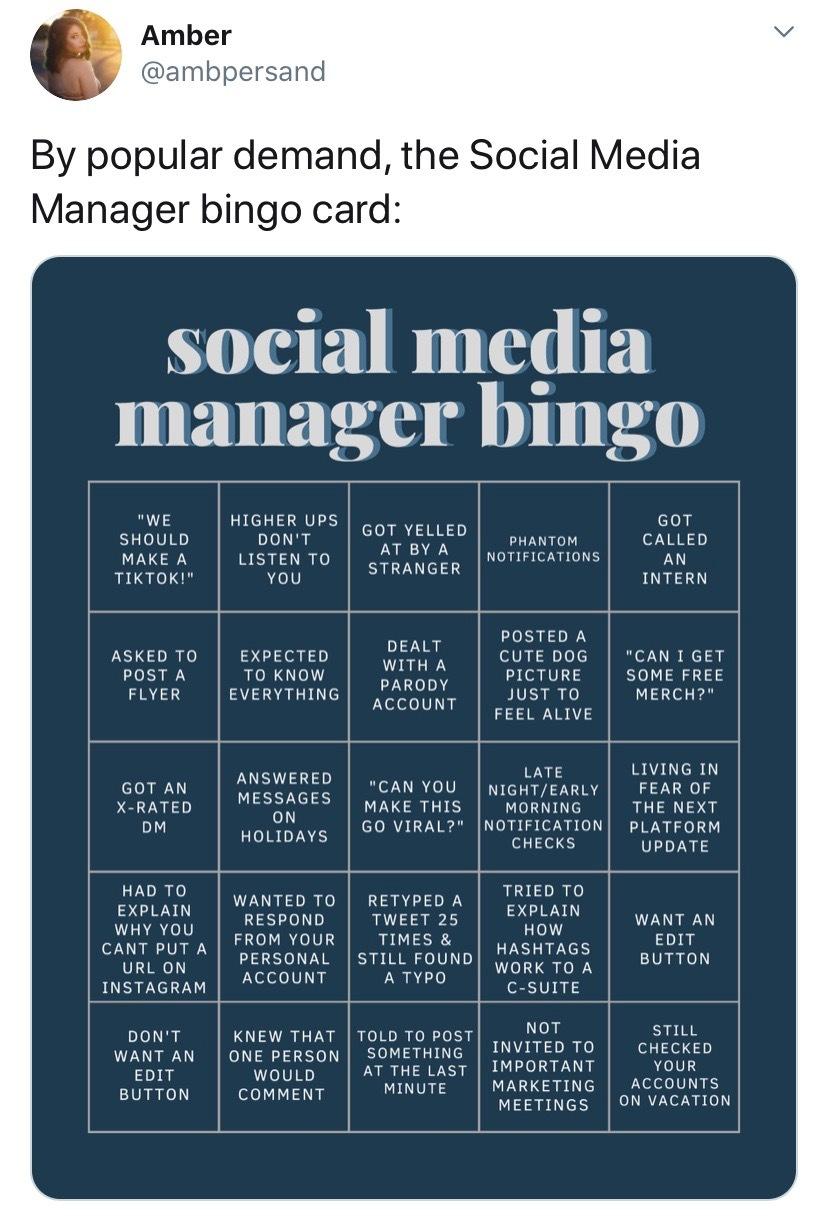 Social media manager bingo