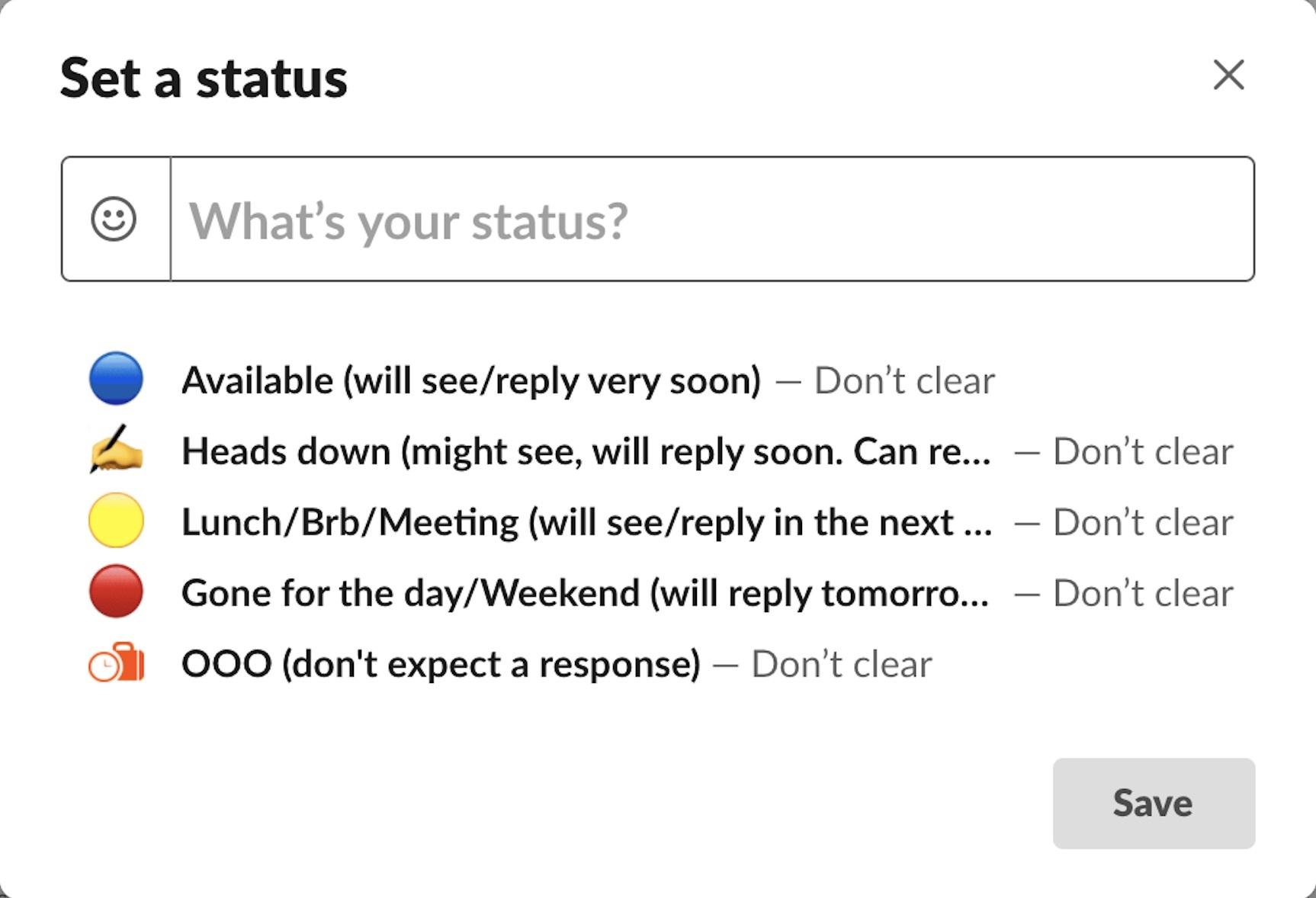 Setting your Slack status