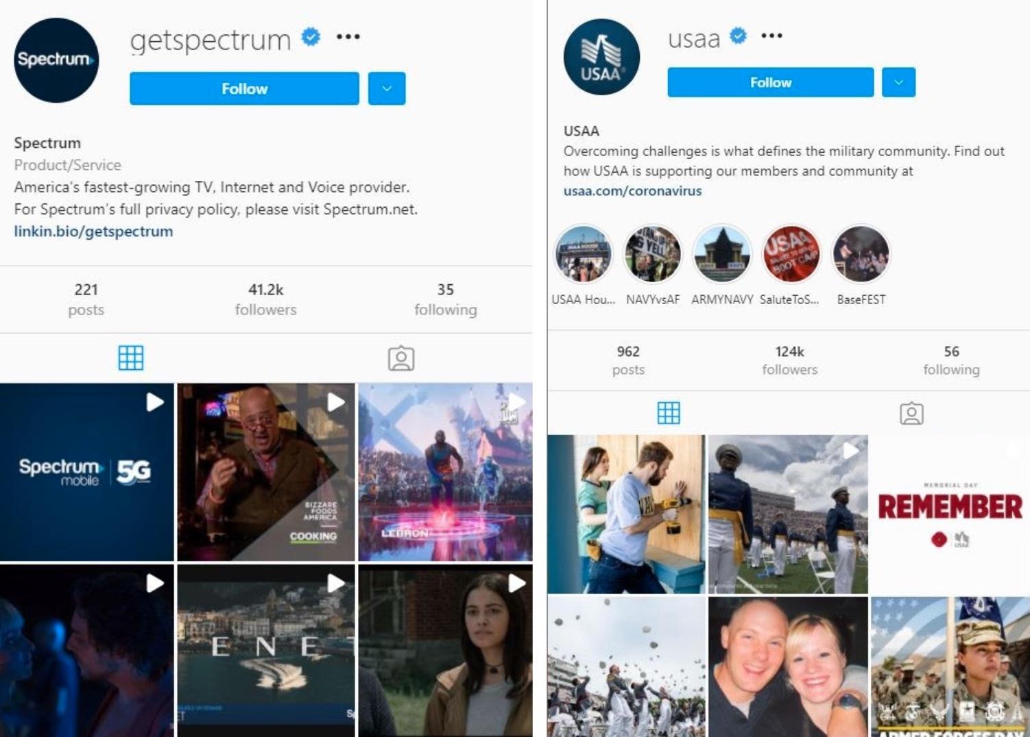 Spectrum & USAA Instagram