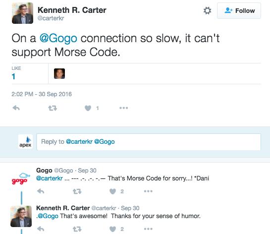 a twitter conversation between gogo and a customer