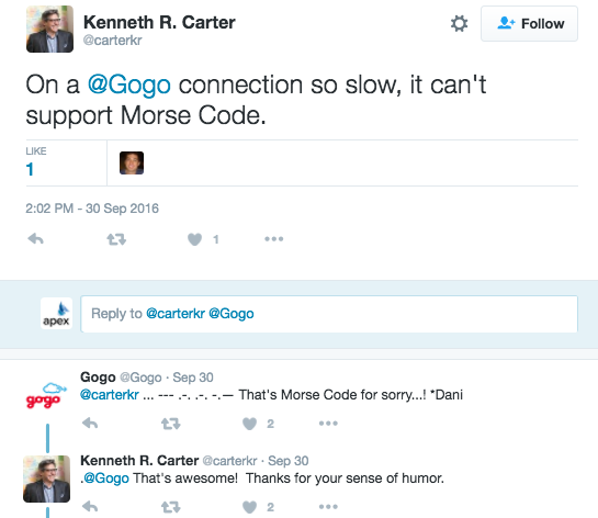 a twitter conversation between gogo and a customer