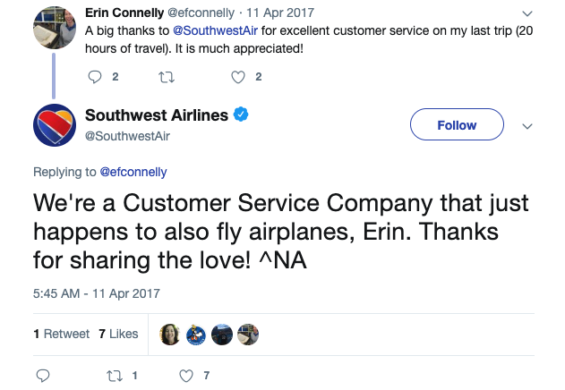 a twitter conversation between southwest airlines and a customer