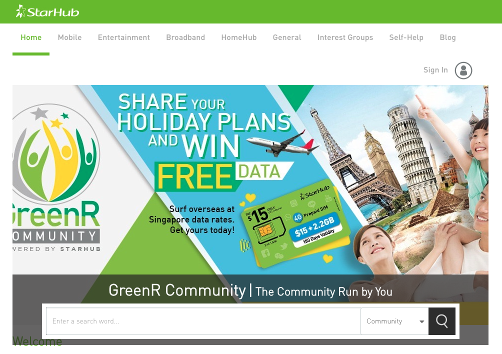 screenshot from starhub community