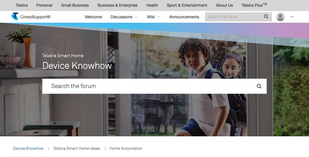 screenshot of telstra crowdsupport community platform