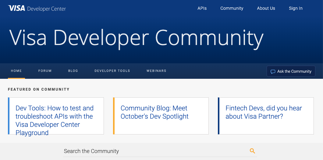 screenshot of visa developer community platform